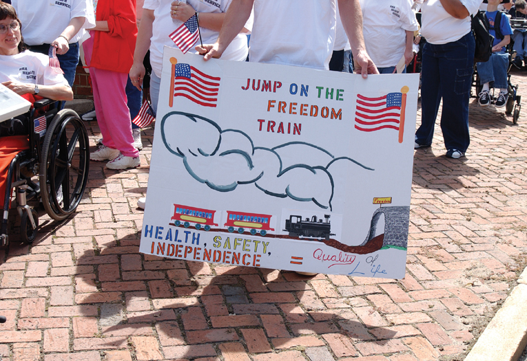Jump on the Freedom Train rally sign